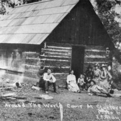 E. B. Gray Photo of Visitors at the Ranger Cabin at Sturtevant Camp